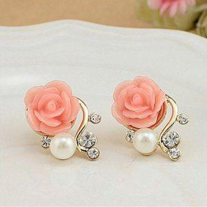 Pink Pearl Rose Flower Earrings